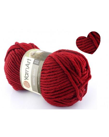 Włóczka Merino Bulky kolor 3024 ciemna czerwień