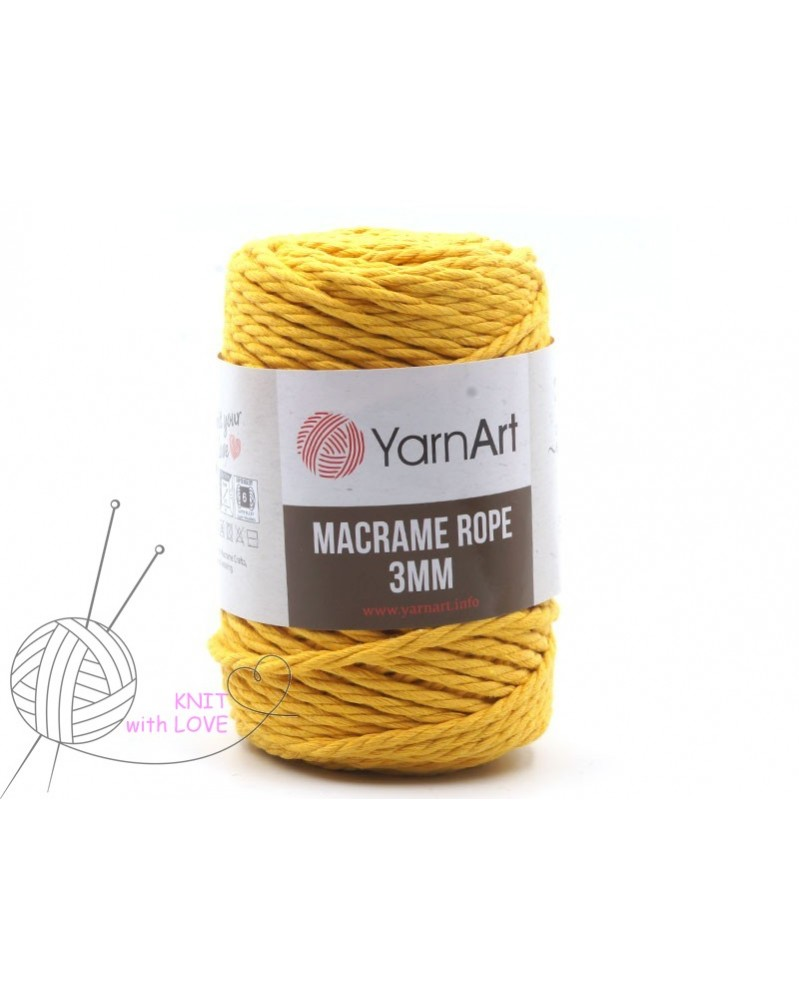 Macrame Rope 3 mm kolor żółty 764
