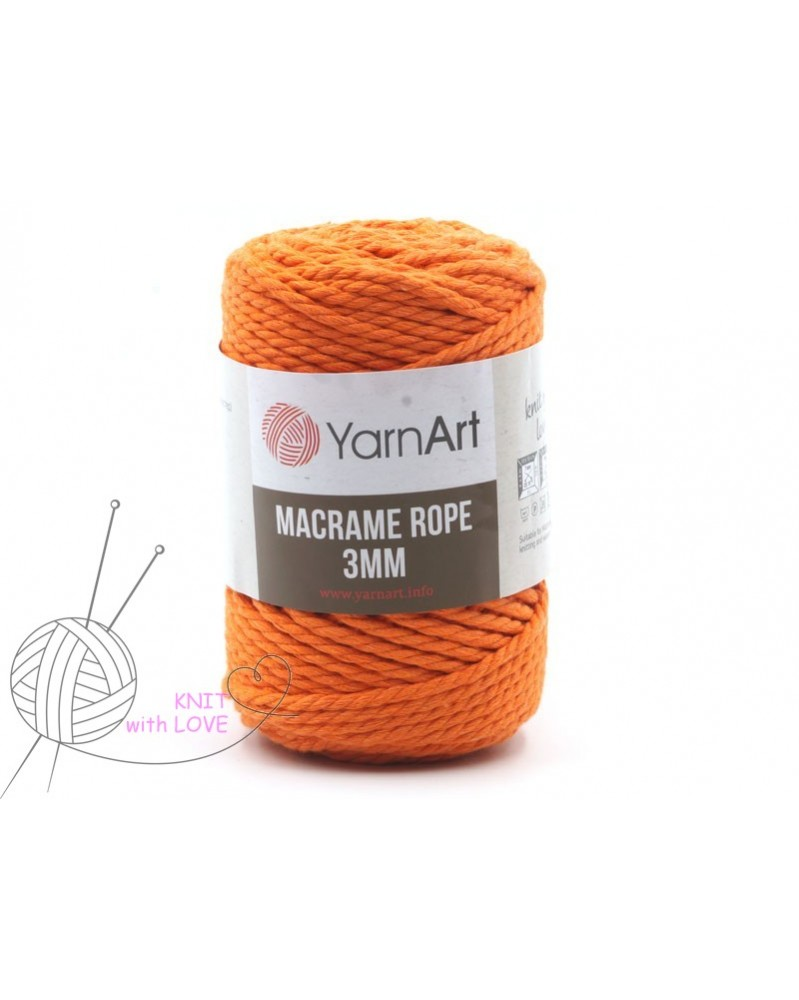 Macrame Rope 3 mm kolor pomarańcz 770
