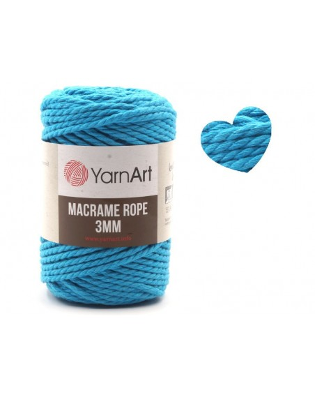 Macrame Rope 3 mm kolor turkus 763