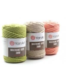 Macrame Rope 3 mm kolor brudny róż 792