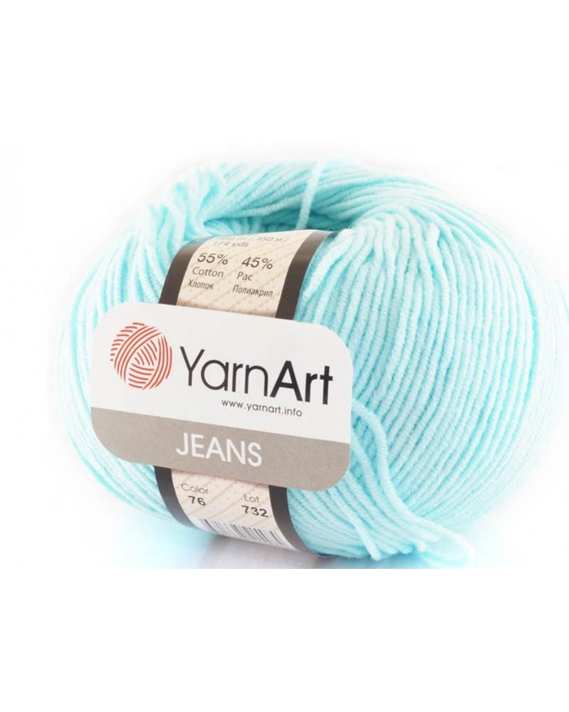Włoczka Jeans Yarn Art kolor jasny turkus 76